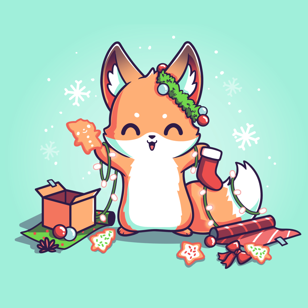 It's That Time of Year t-shirt TeeTurtle light turquoise t-shirt featuring a fox surround by holiday cookies, wrapping paper, ornaments, snowflakes, and holiday lights