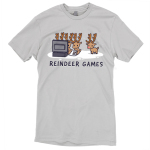 Reindeer Games t-shirt TeeTurtle silver t-shirt featuring three reindeers playing video games and one on the side looking left out