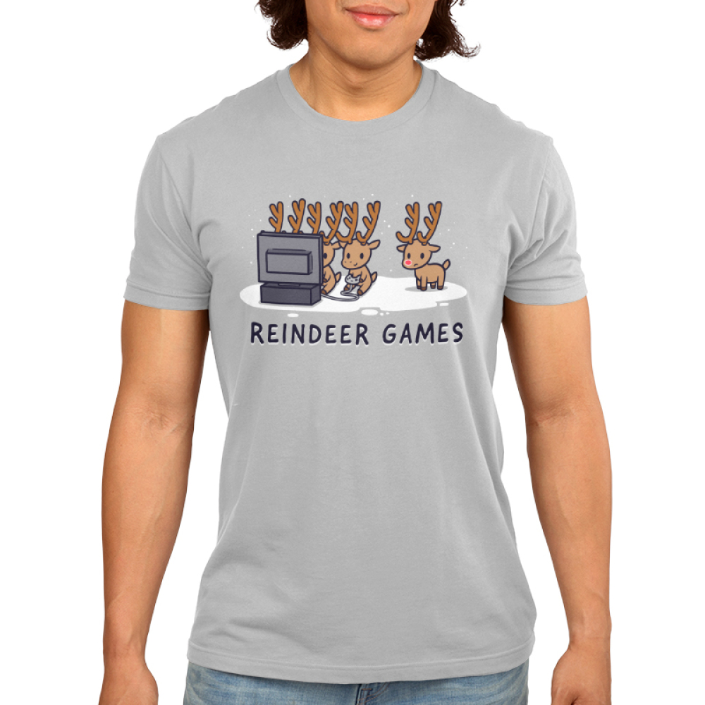 Reindeer Games Men's t-shirt model TeeTurtle silver t-shirt featuring three reindeers playing video games and one on the side looking left out