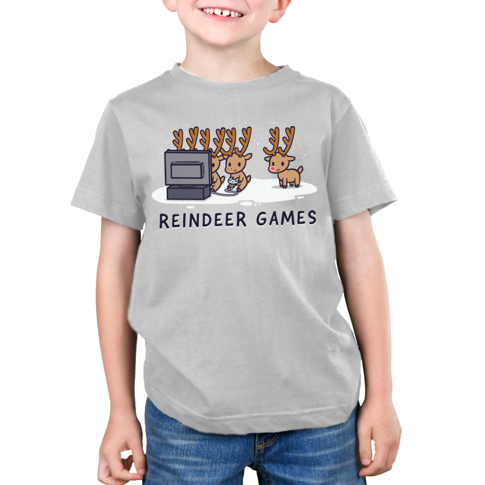Reindeer Games Kid's t-shirt model TeeTurtle silver t-shirt featuring three reindeers playing video games and one on the side looking left out