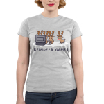 Reindeer Games Junior's t-shirt model TeeTurtle silver t-shirt featuring three reindeers playing video games and one on the side looking left out