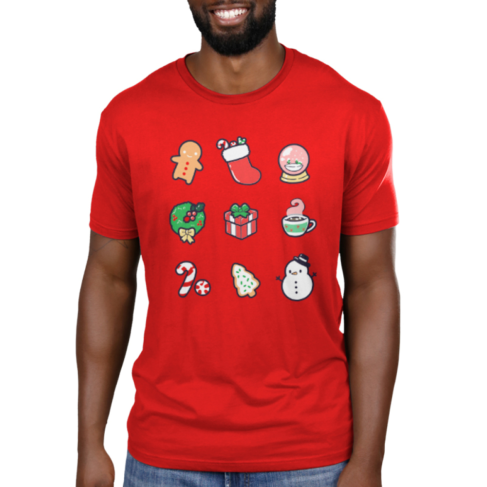 Why I Love Christmas Men's t-shirt model TeeTurtle red t-shirt featuring a gingerbread man, stocking, snow globe, wreath, present, hot chocolate, candy cane, Christmas cookie, and snowman