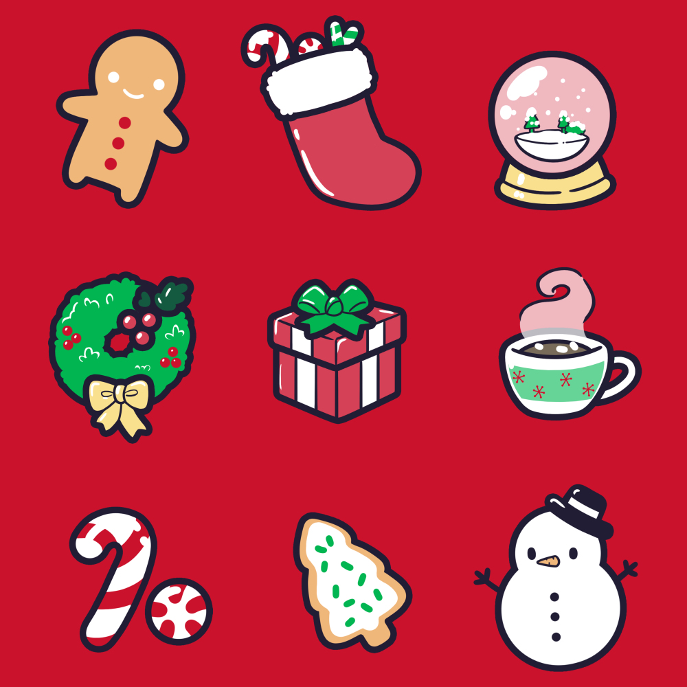 Why I Love Christmas t-shirt TeeTurtle red t-shirt featuring a gingerbread man, stocking, snow globe, wreath, present, hot chocolate, candy cane, Christmas cookie, and snowman