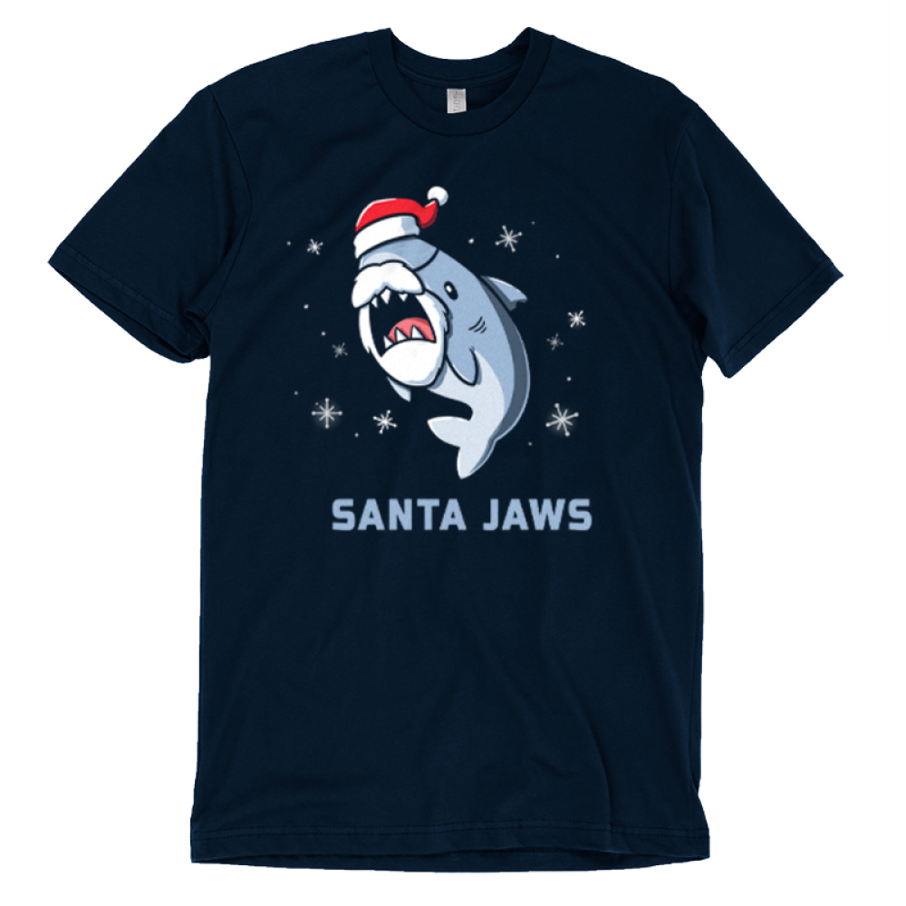 Santa Jaws t-shirt TeeTurtle navy t-shirt featuring a shark in a santa hat and beard with snowflakes around him