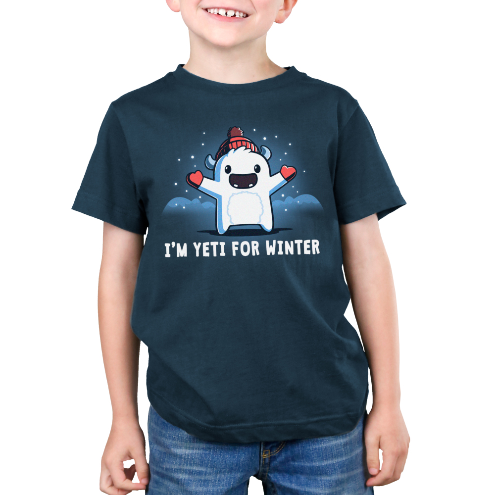 I'm Yeti for Winter Kid's t-shirt model TeeTurtle indigo t-shirt featuring a yeti with a winter hat and gloves on with snow around him