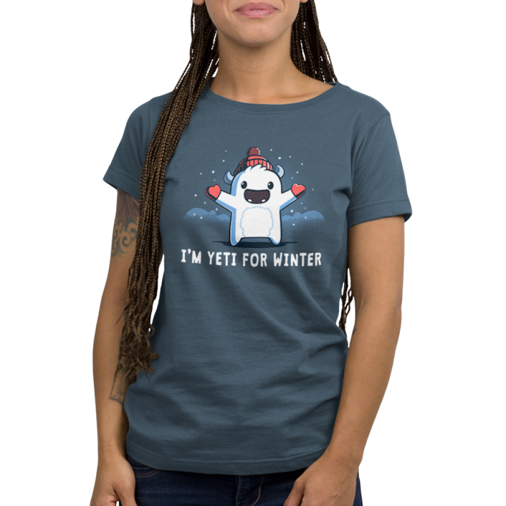 I'm Yeti for Winter Women's t-shirt model TeeTurtle indigo t-shirt featuring a yeti with a winter hat and gloves on with snow around him