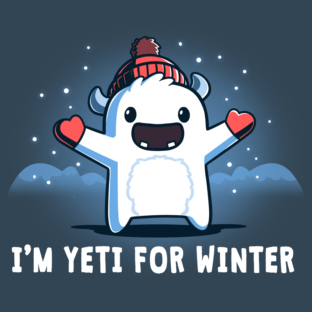 I'm Yeti for Winter t-shirt TeeTurtle indigo t-shirt featuring a yeti with a winter hat and gloves on with snow around him
