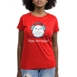 Happy Hoo-lidays Women's t-shirt model TeeTurtle red t-shirt featuring an owl in ear muffs on a branch with snow around him