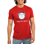 Happy Hoo-lidays Men's t-shirt model TeeTurtle red t-shirt featuring an owl in ear muffs on a branch with snow around him