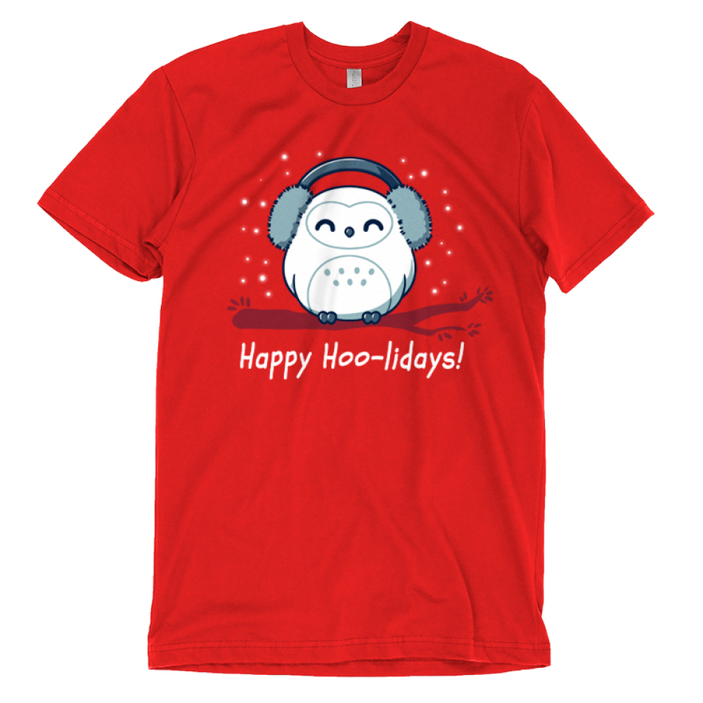 Happy Hoo-lidays t-shirt TeeTurtle red t-shirt featuring an owl in ear muffs on a branch with snow around him