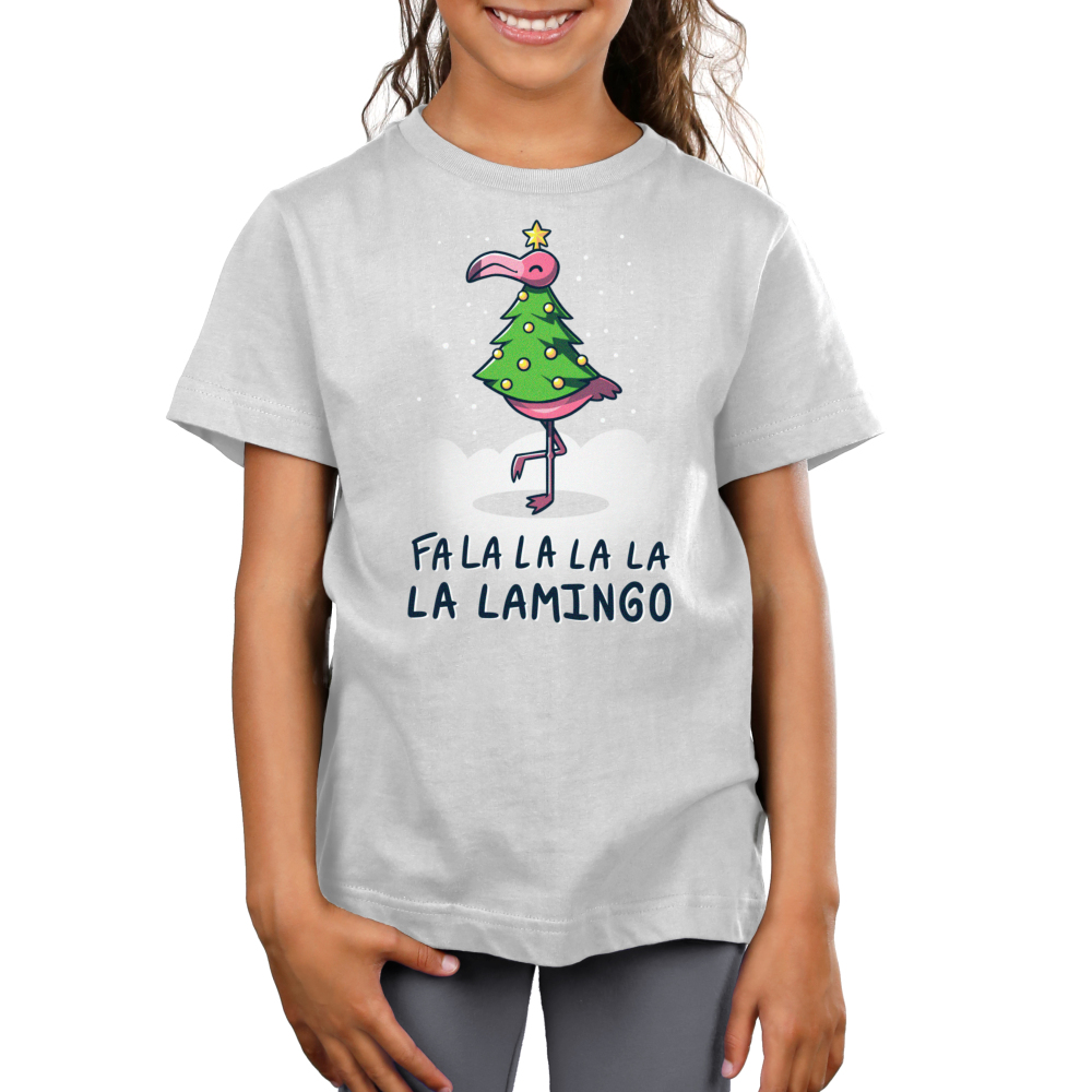 Fa La La Lamingo Kid's t-shirt model TeeTurtle silver t-shirt featuring a flamingo in a christmas tree costume