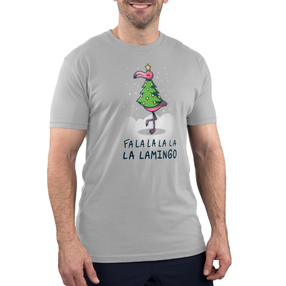 Fa La La Lamingo Men's t-shirt model TeeTurtle silver t-shirt featuring a flamingo in a christmas tree costume