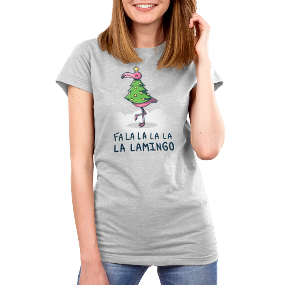 Fa La La Lamingo Women's t-shirt model TeeTurtle silver t-shirt featuring a flamingo in a christmas tree costume