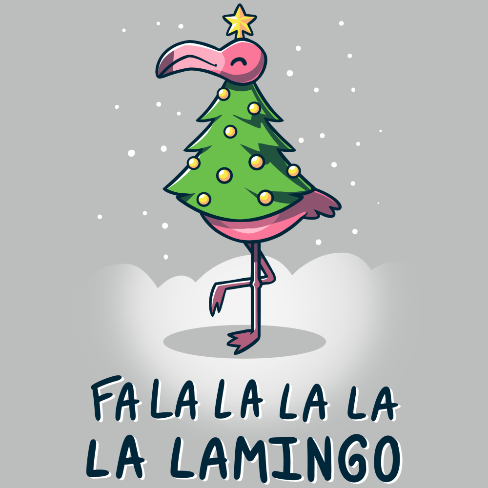 Fa La La Lamingo t-shirt TeeTurtle silver t-shirt featuring a flamingo in a christmas tree costume