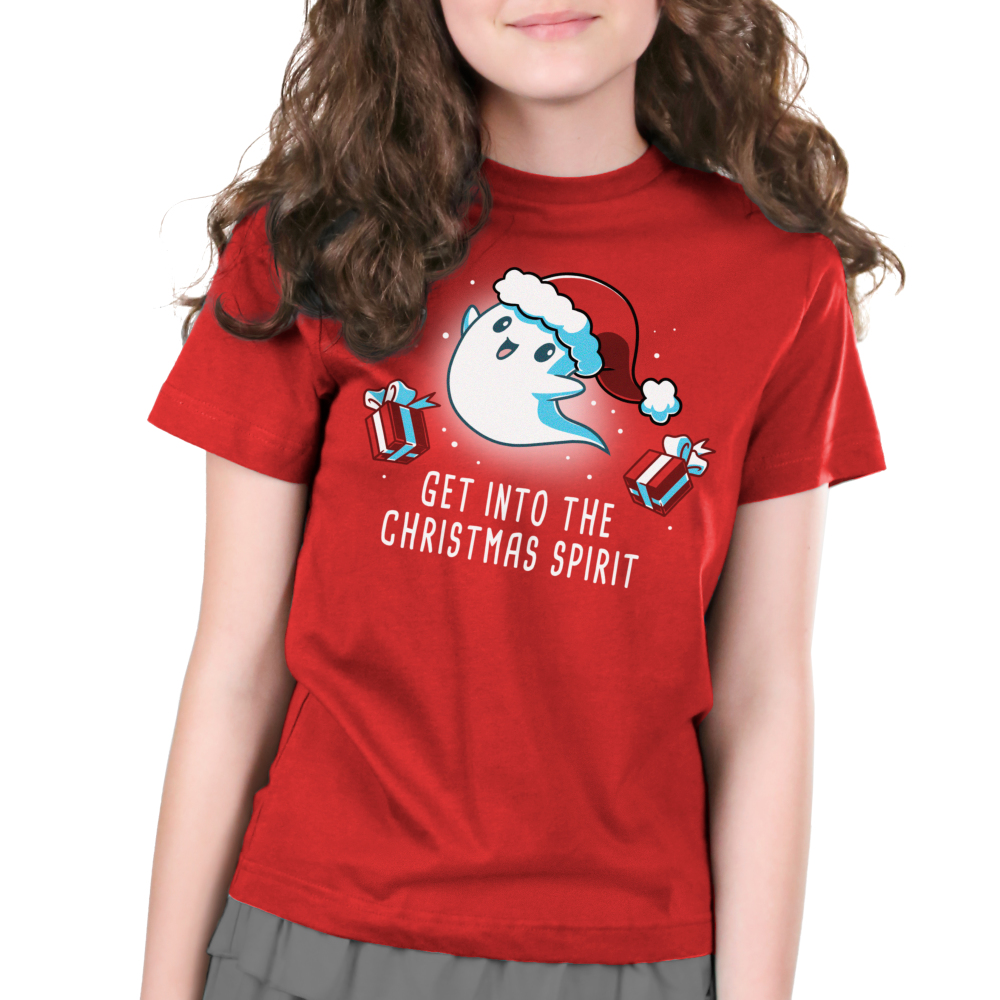 Get into the Christmas Spirit Kid's t-shirt model TeeTurtle red t-shirt featuring a ghost in a santa hat with presents around him