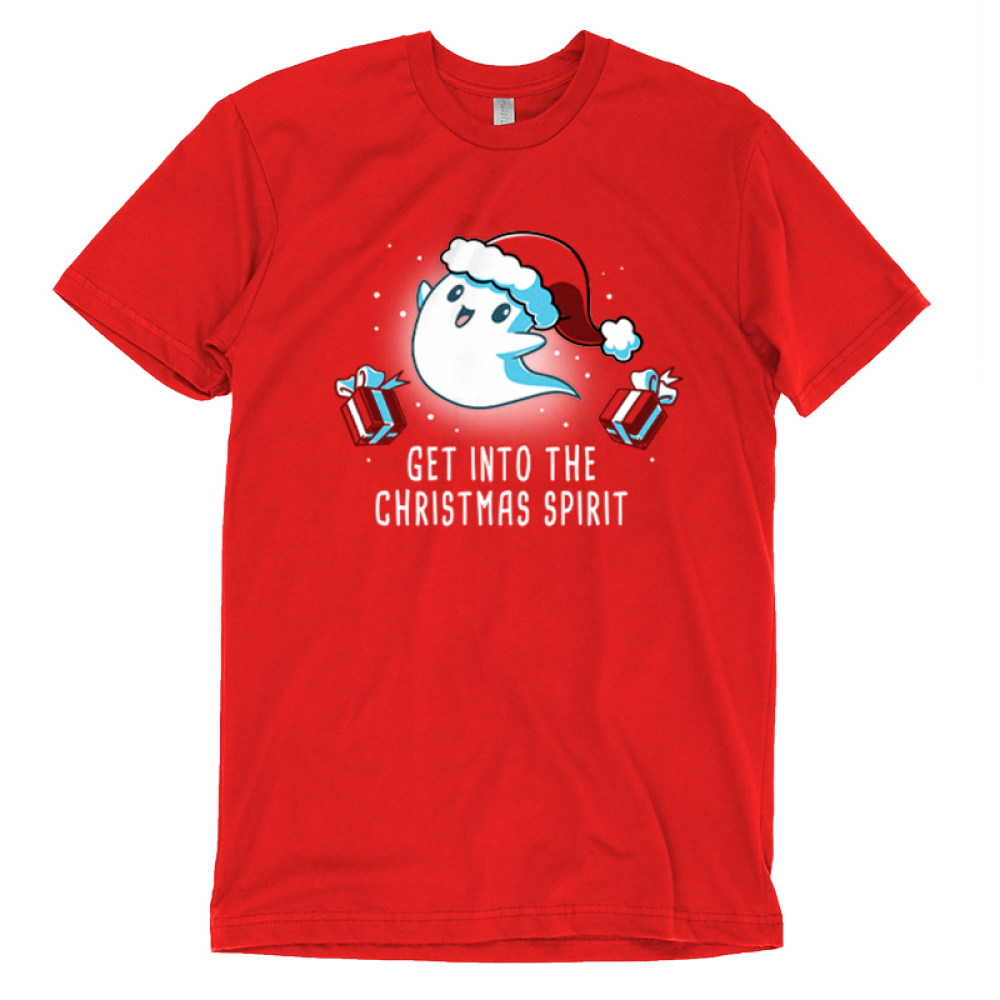 Get into the Christmas Spirit t-shirt TeeTurtle red t-shirt featuring a ghost in a santa hat with presents around him