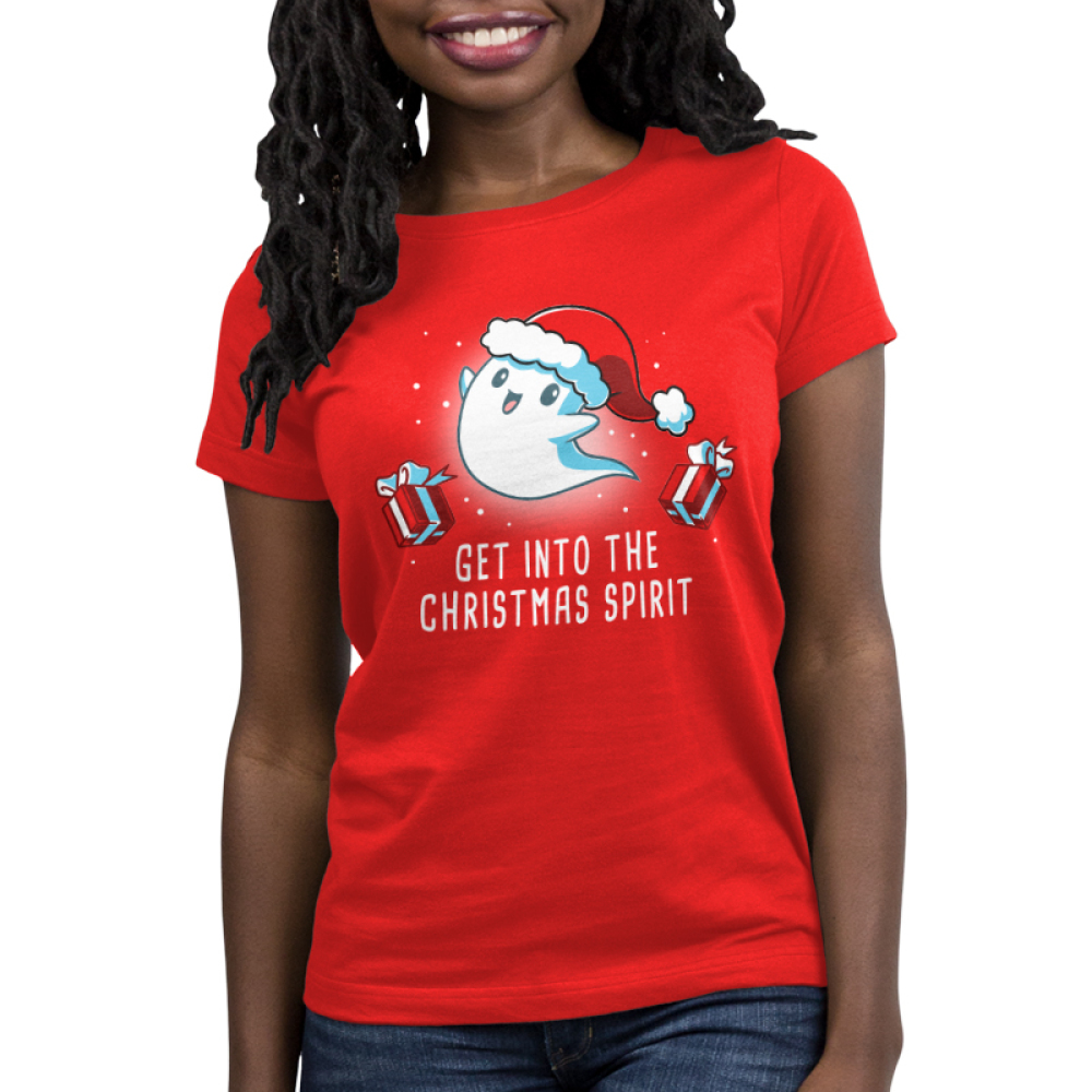 Get into the Christmas Spirit Women's t-shirt model TeeTurtle red t-shirt featuring a ghost in a santa hat with presents around him