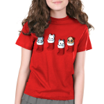Stocking Stuffers Kid's t-shirt model TeeTurtle red t-shirt featuring four hanging stockings with kittens in two of them and puppies in the other two