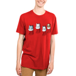 Stocking Stuffers Men's t-shirt model TeeTurtle red t-shirt featuring four hanging stockings with kittens in two of them and puppies in the other two