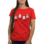 Stocking Stuffers Women's t-shirt model TeeTurtle red t-shirt featuring four hanging stockings with kittens in two of them and puppies in the other two