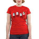Stocking Stuffers Junior's t-shirt model TeeTurtle red t-shirt featuring four hanging stockings with kittens in two of them and puppies in the other two