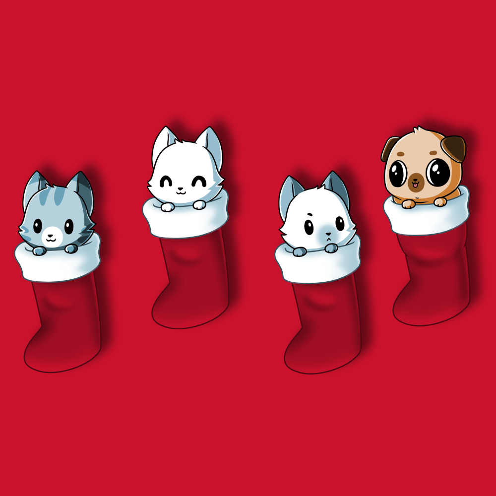 Stocking Stuffers t-shirt TeeTurtle red t-shirt featuring four hanging stockings with kittens in two of them and puppies in the other two