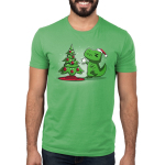 Christmas T-Rex Men's t-shirt model TeeTurtle apple green t-shirt featuring a t-rex trying to get the star on top of the christmas tree