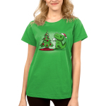 Christmas T-Rex Women's t-shirt model TeeTurtle apple green t-shirt featuring a t-rex trying to get the star on top of the christmas tree