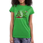 Christmas T-Rex Junior's t-shirt model TeeTurtle apple green t-shirt featuring a t-rex trying to get the star on top of the christmas tree
