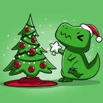 Christmas T-Rex t-shirt TeeTurtle apple green t-shirt featuring a t-rex trying to get the star on top of the christmas tree