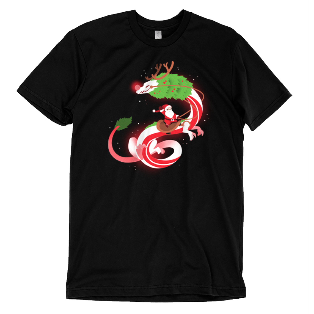 Christmas Dragon t-shirt TeeTurtle black t-shirt featuring Santa Claus riding a big dragon dressed as a reindeer