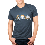 Tangled Up Porgs Men's t-shirt model officially licensed Star Wars indigo t-shirt featuring three porgs tangled up in a string of lights