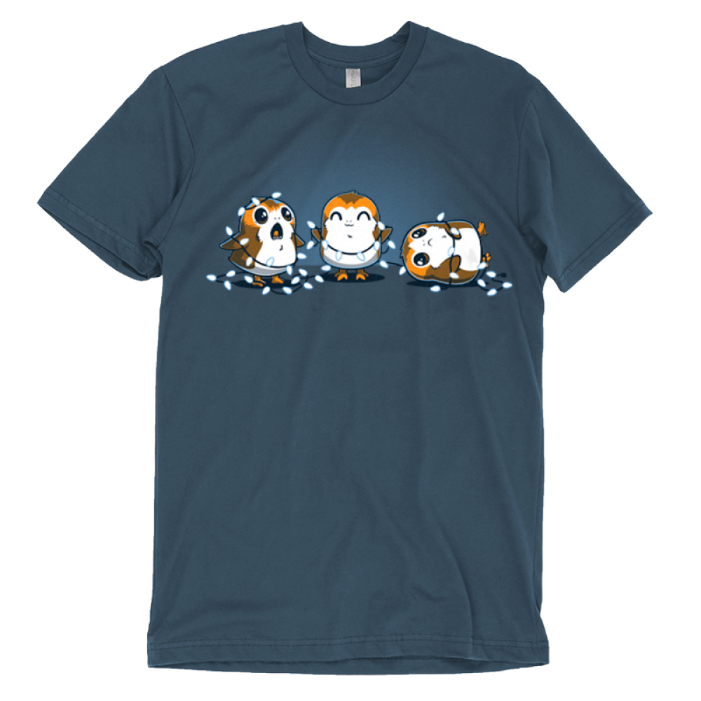 Tangled Up Porgs t-shirt officially licensed Star Wars indigo t-shirt featuring three porgs tangled up in a string of lights