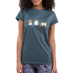 Tangled Up Porgs Junior's t-shirt model officially licensed Star Wars indigo t-shirt featuring three porgs tangled up in a string of lights