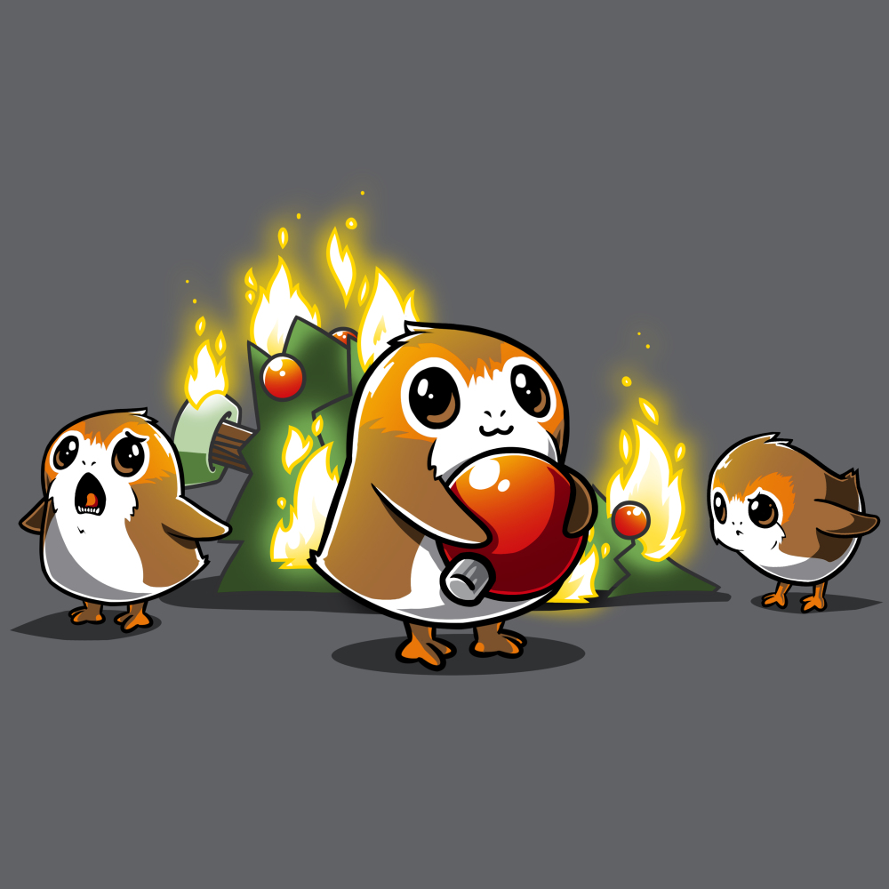 Porgs Ruin Christmas t-shirt officially licensed Star Wars charcoal t-shirt featuring three porgs with a christmas tree on fire behind them