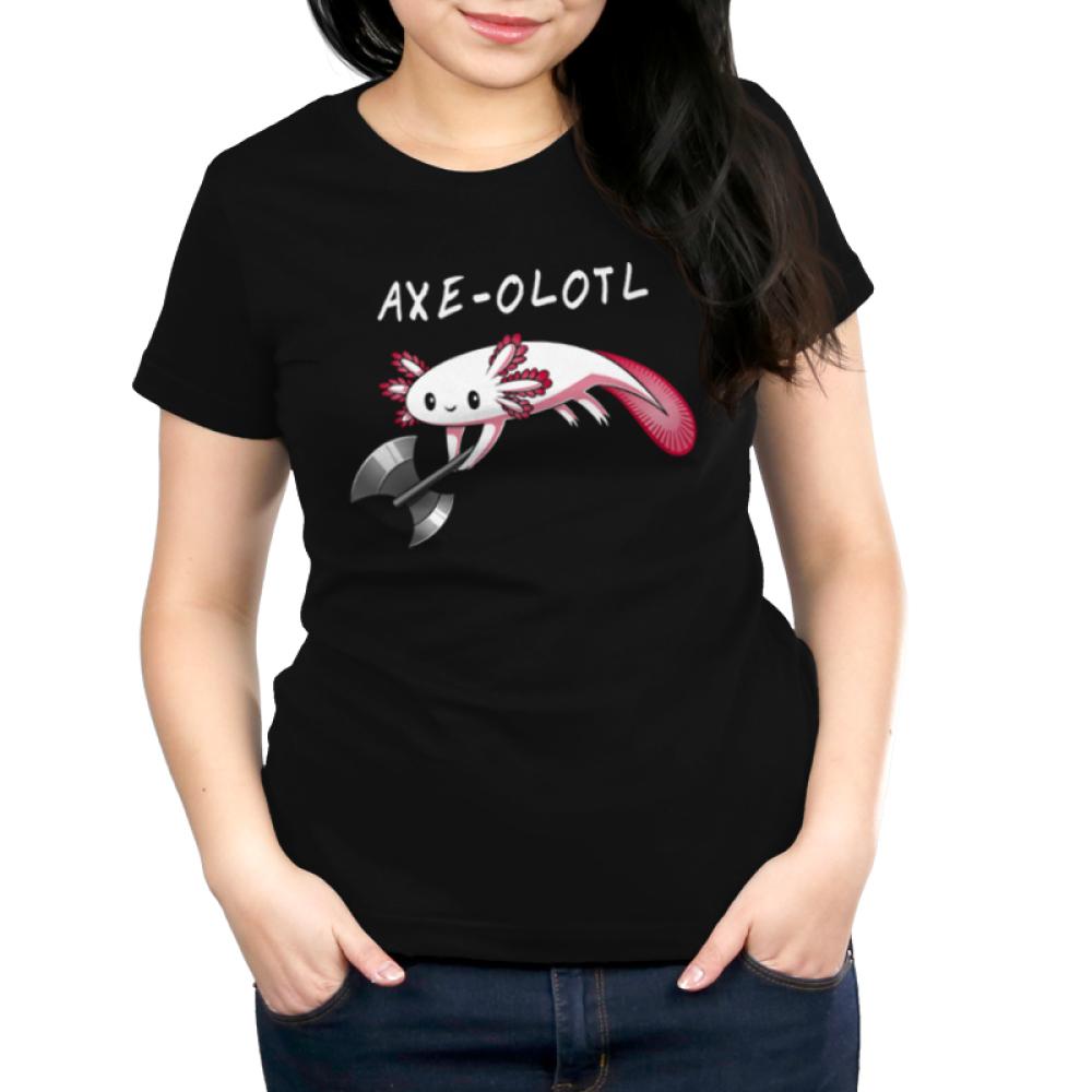 Axe-olotl Women's t-shirt model TeeTurtle black t-shirt featuring an axolotl holding an axe