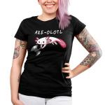 Axe-olotl Junior's t-shirt model TeeTurtle black t-shirt featuring an axolotl holding an axe