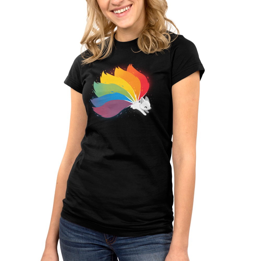 Rainbow Kitsune Pt 2 Junior's t-shirt model TeeTurtle black t-shirt featuring a kitsune with each of its tails a color of the rainbow