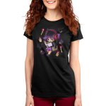 Lost in Books Women's t-shirt model TeeTurtle black t-shirt featuring a girl with headphones on reading a book with candles and books flying around her