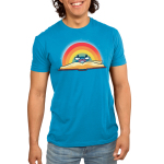 Rainbow Reading Men's t-shirt model TeeTurtle cobalt blue t-shirt featuring an open book with a rainbow behind it with a smiley face and reading glasses