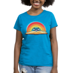 Rainbow Reading Women's t-shirt model TeeTurtle cobalt blue t-shirt featuring an open book with a rainbow behind it with a smiley face and reading glasses