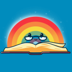 Rainbow Reading t-shirt TeeTurtle cobalt blue t-shirt featuring an open book with a rainbow behind it with a smiley face and reading glasses