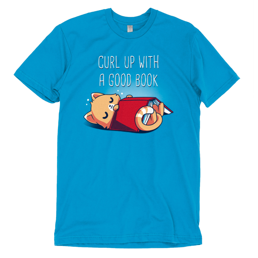 Curl Up With a Good Book t-shirt TeeTurtle cobalt blue t-shirt featuring a cat snuggling with a book
