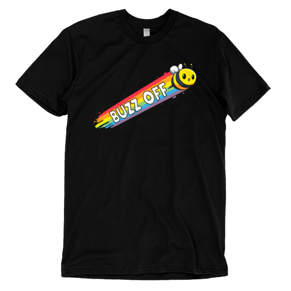 Buzz Off Pt 2 t-shirt TeeTurtle black t-shirt featuring a yellow bumble bee with a rainbow forming in his trail