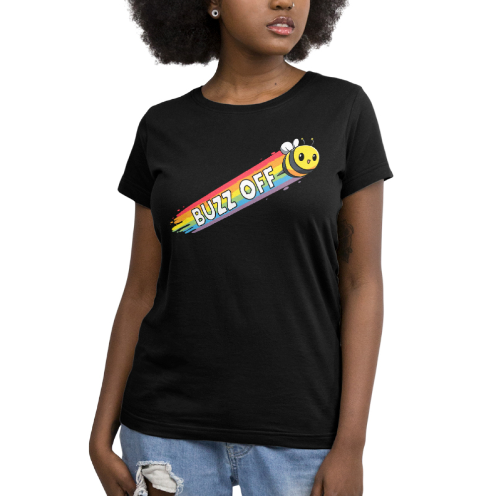 Buzz Off Pt 2 Women's t-shirt model TeeTurtle black t-shirt featuring a yellow bumble bee with a rainbow forming in his trail