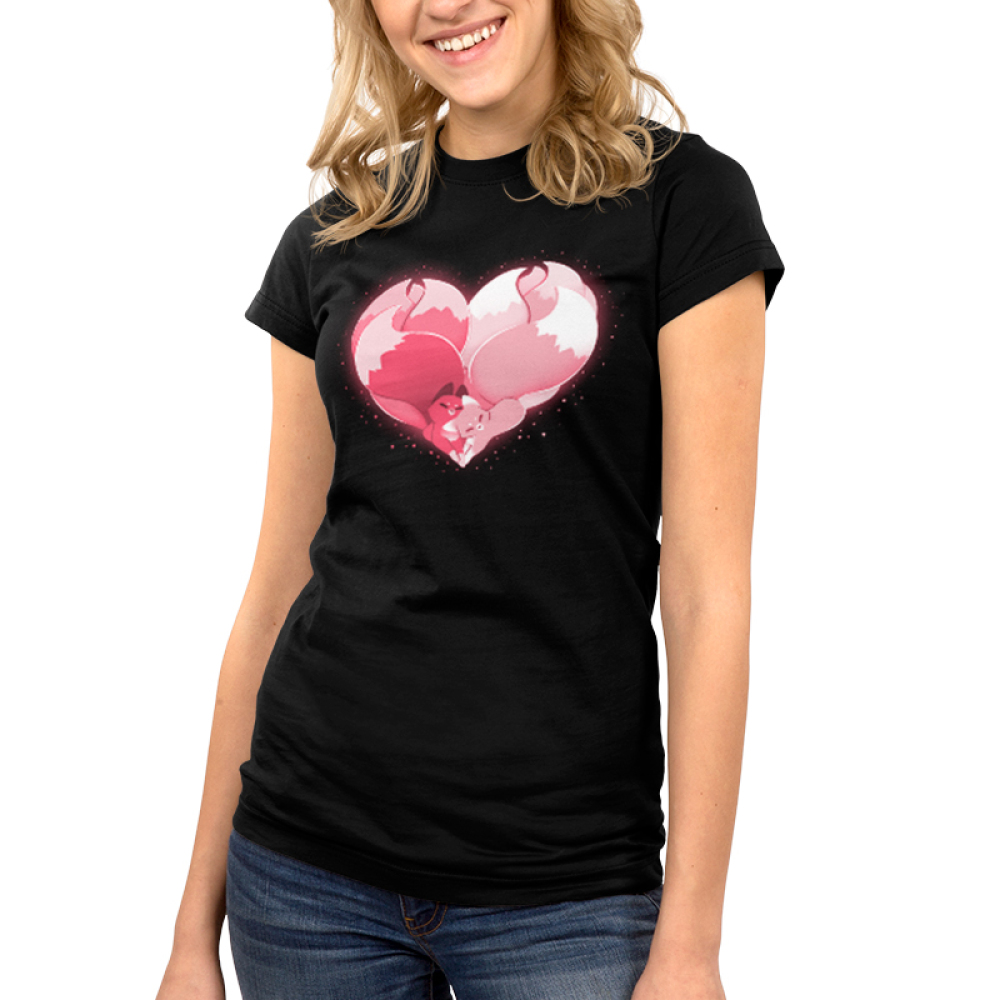 Kitsune Heart Junior's t-shirt model TeeTurtle black t-shirt featuring two pink kitsunes hugging to form a heart