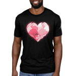 Kitsune Heart Men's t-shirt model TeeTurtle black t-shirt featuring two pink kitsunes hugging to form a heart