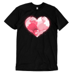 Kitsune Heart t-shirt TeeTurtle black t-shirt featuring two pink kitsunes hugging to form a heart