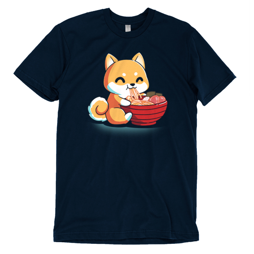Ramen Shiba t-shirt TeeTurtle navy t-shirt featuring an orange shiba dog smiling while he eats a tasty bowl of ramen