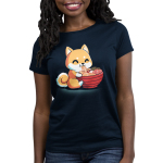 Ramen Shiba Women's t-shirt model TeeTurtle navy t-shirt featuring an orange shiba dog smiling while he eats a tasty bowl of ramen